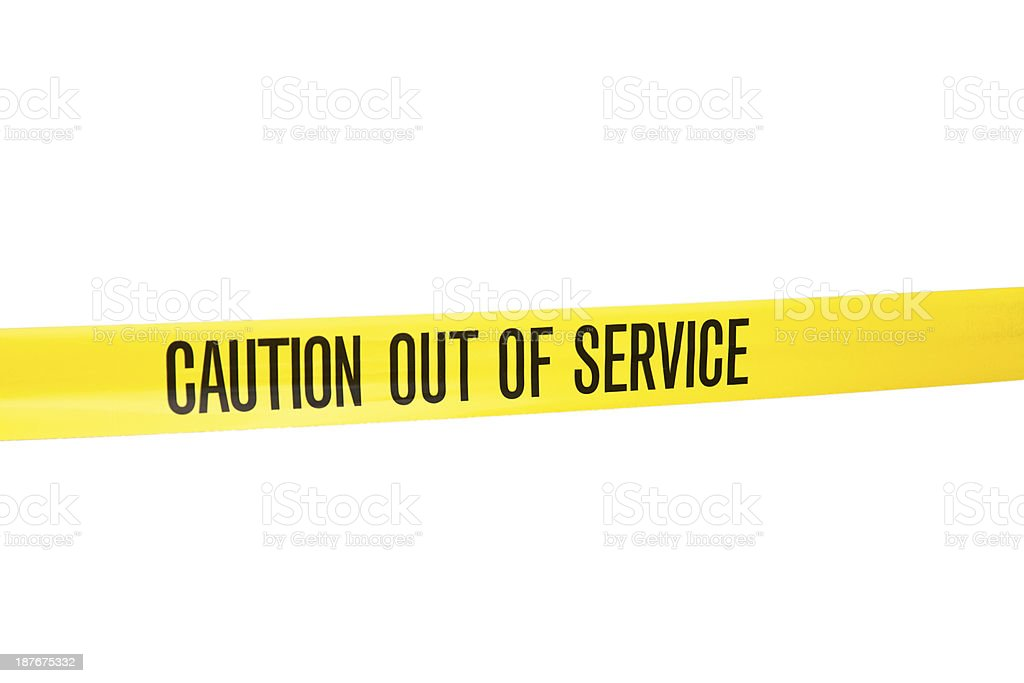 Barricade Tape - Caution out of service stock photo