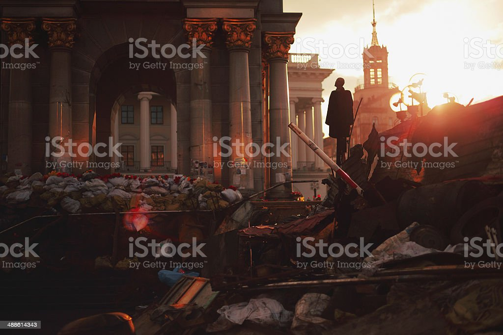 Barricades at Euromaidan in Kiev stock photo