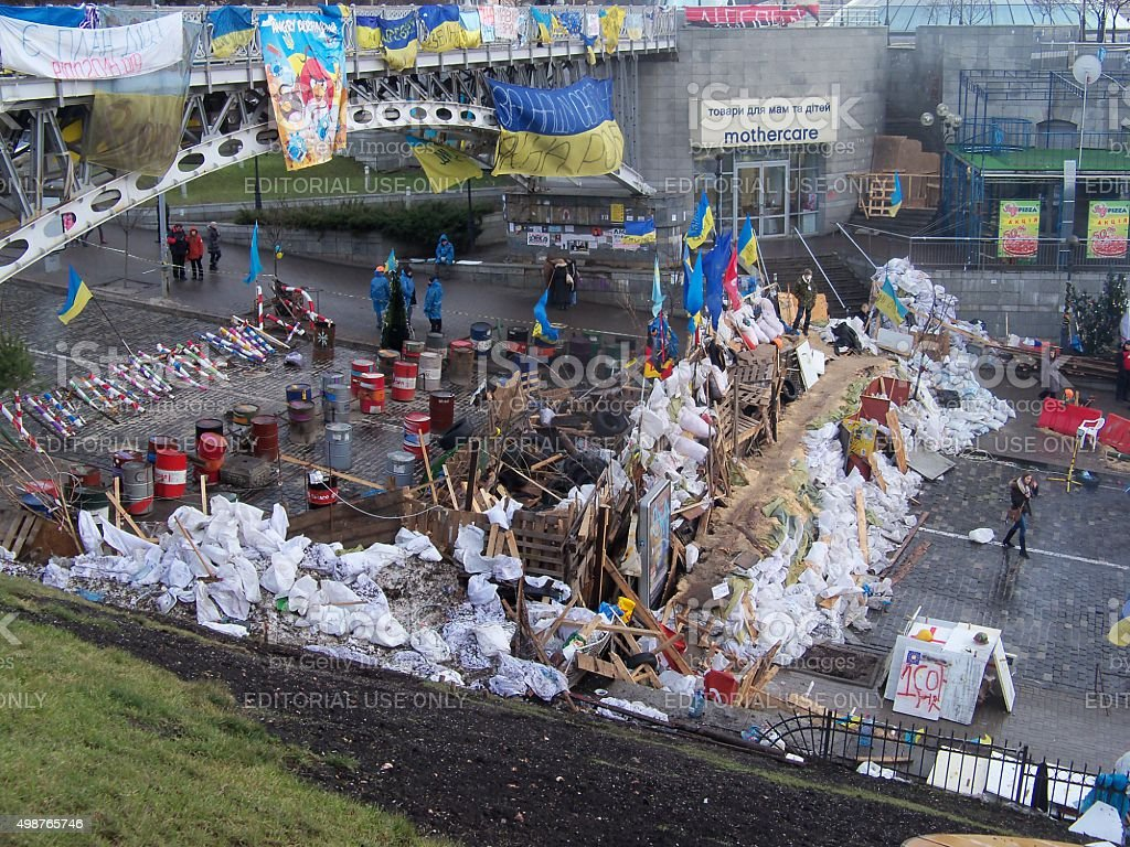 Barricades euromaidan stock photo