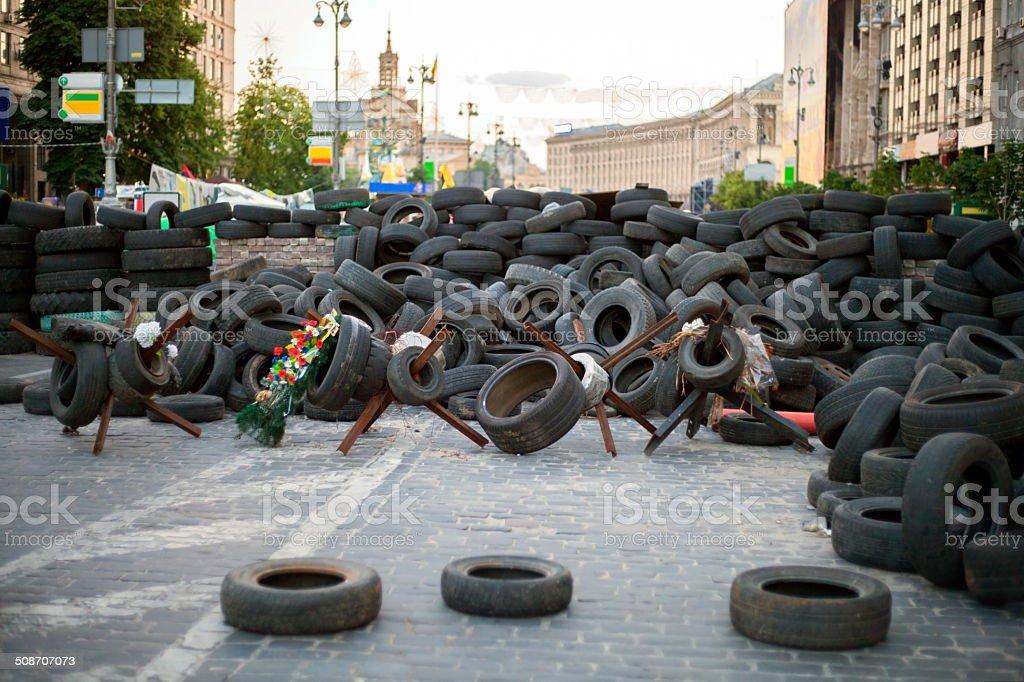 Barricades in Kiev. stock photo