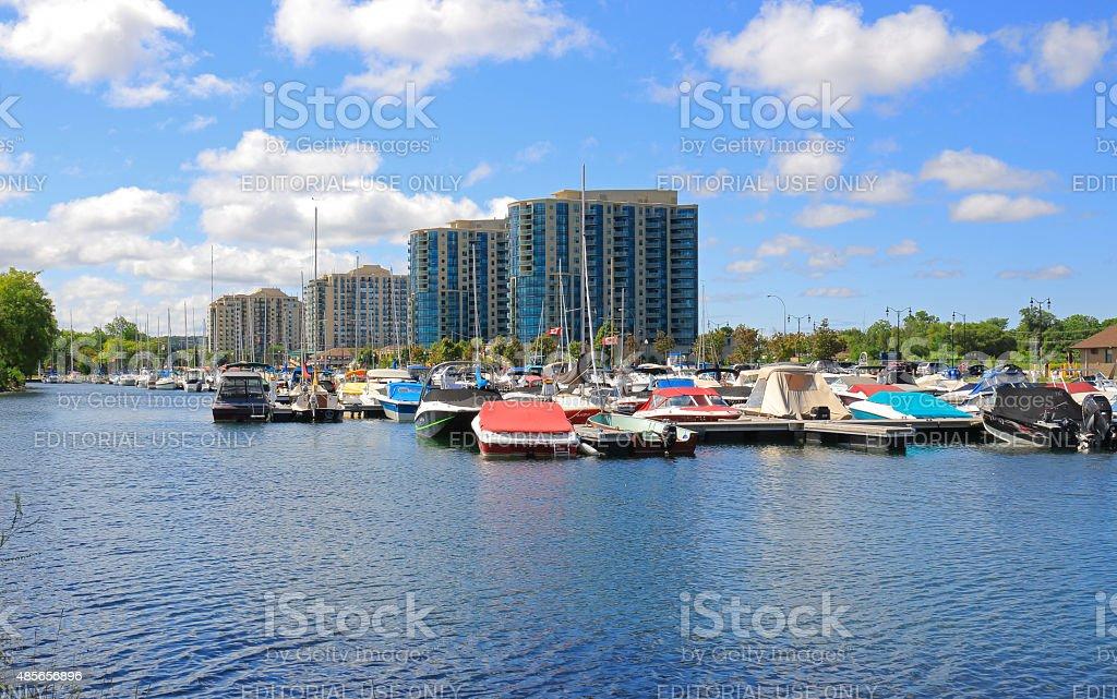 Barrie Lake Simcoe Marina and Condo Buildings stock photo