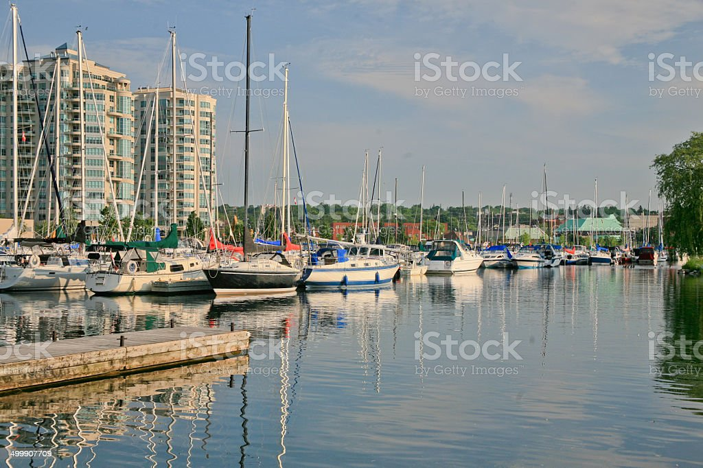 Barrie Marina with Condominiums in the Background stock photo