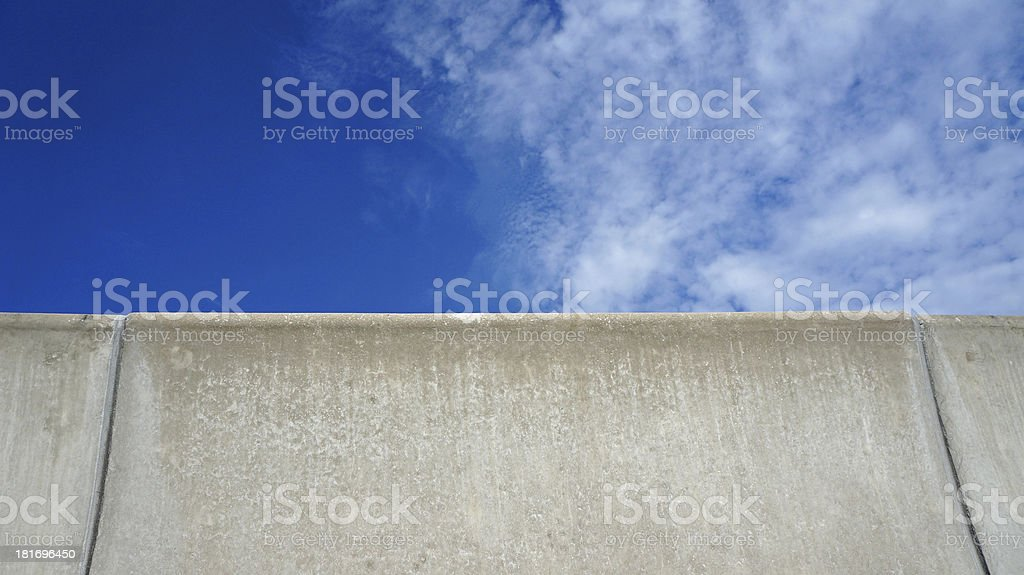barrier fence on the highway with blue sky stock photo