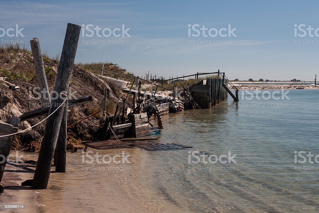 Barrier Island on Cape Cod Eroding Away stock photo
