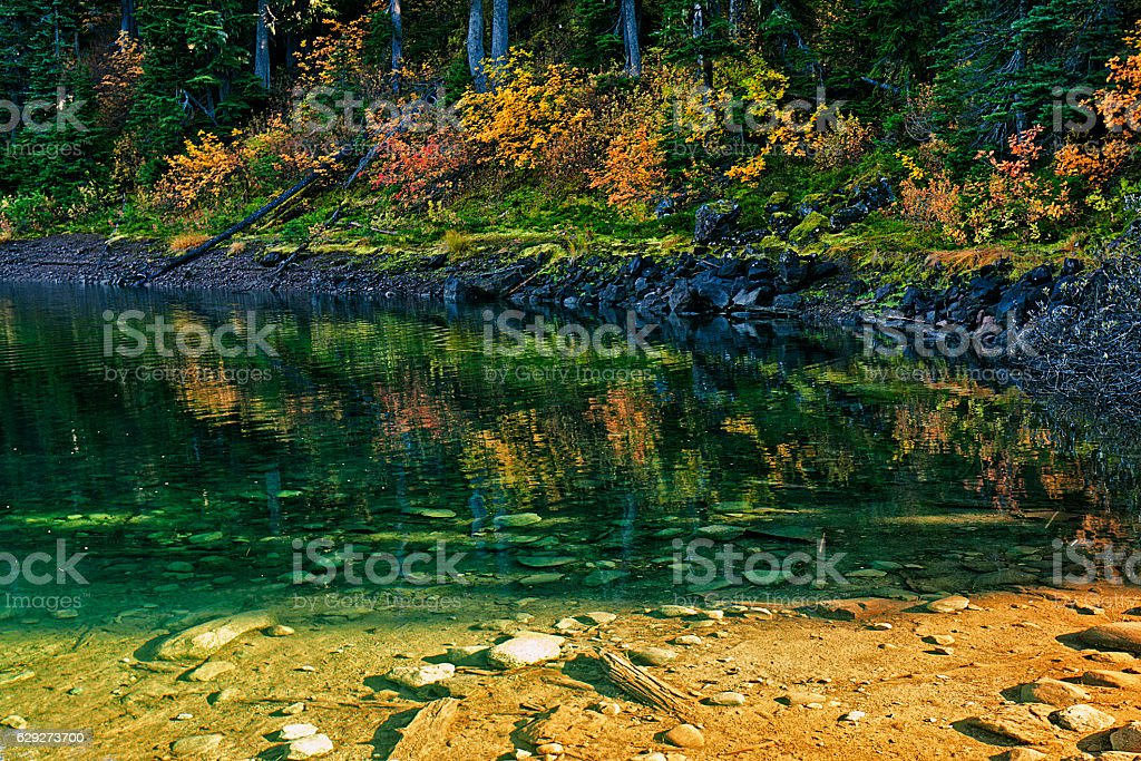 Barrier Lake in Autumn color stock photo