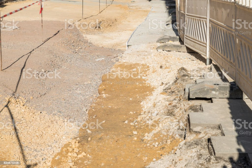 Barrier of a construction site stock photo