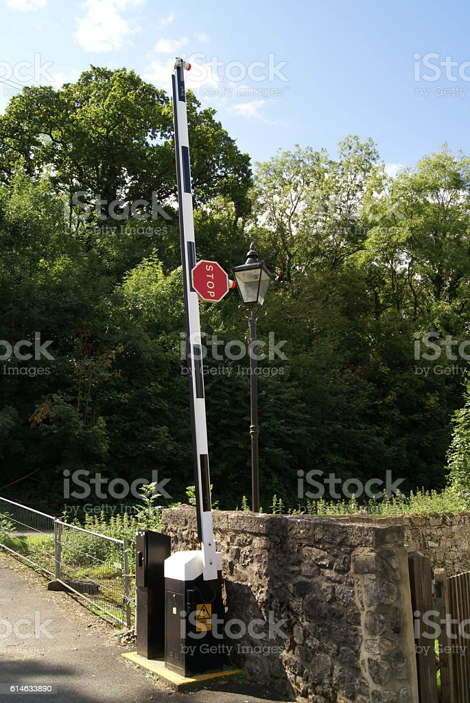 barrier with stop sign stock photo