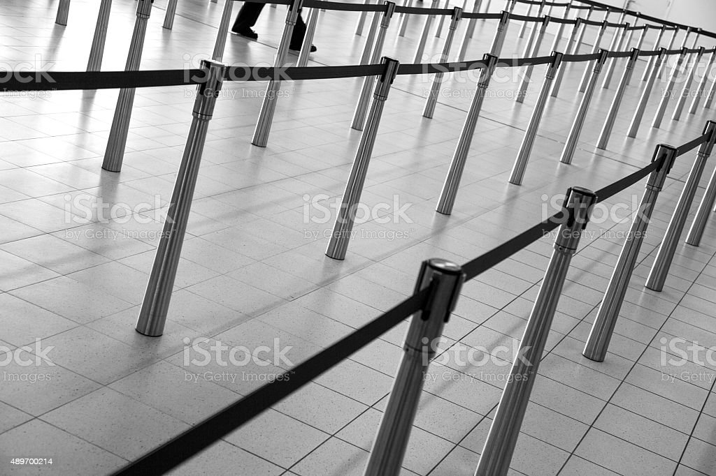 Barriers at Airport - Monochrome stock photo
