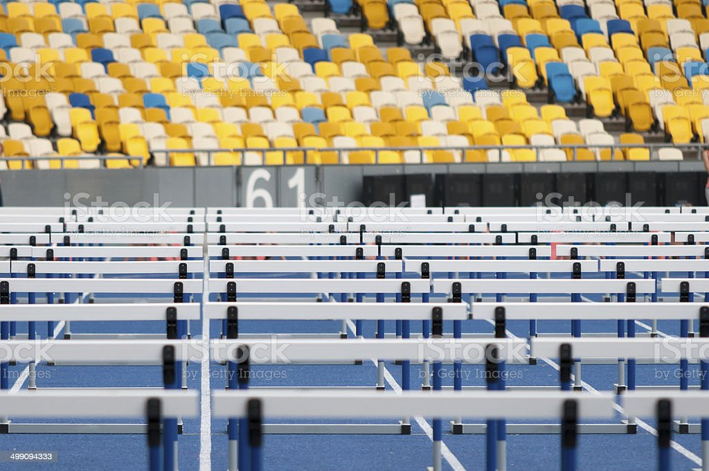 barriers, competition athletes, running, steeplechase stock photo