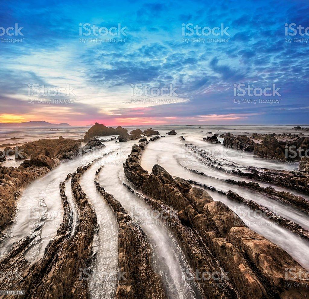 Barrika beach at sunset stock photo