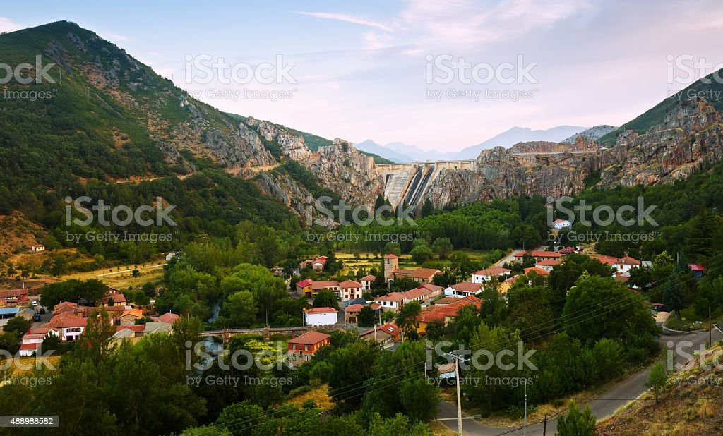 Barrios de Luna with dam. Leon,  Spain stock photo