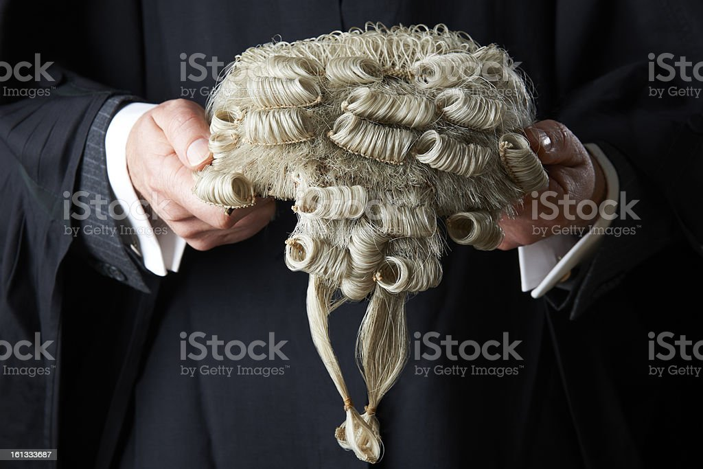 Barrister Holding Wig stock photo