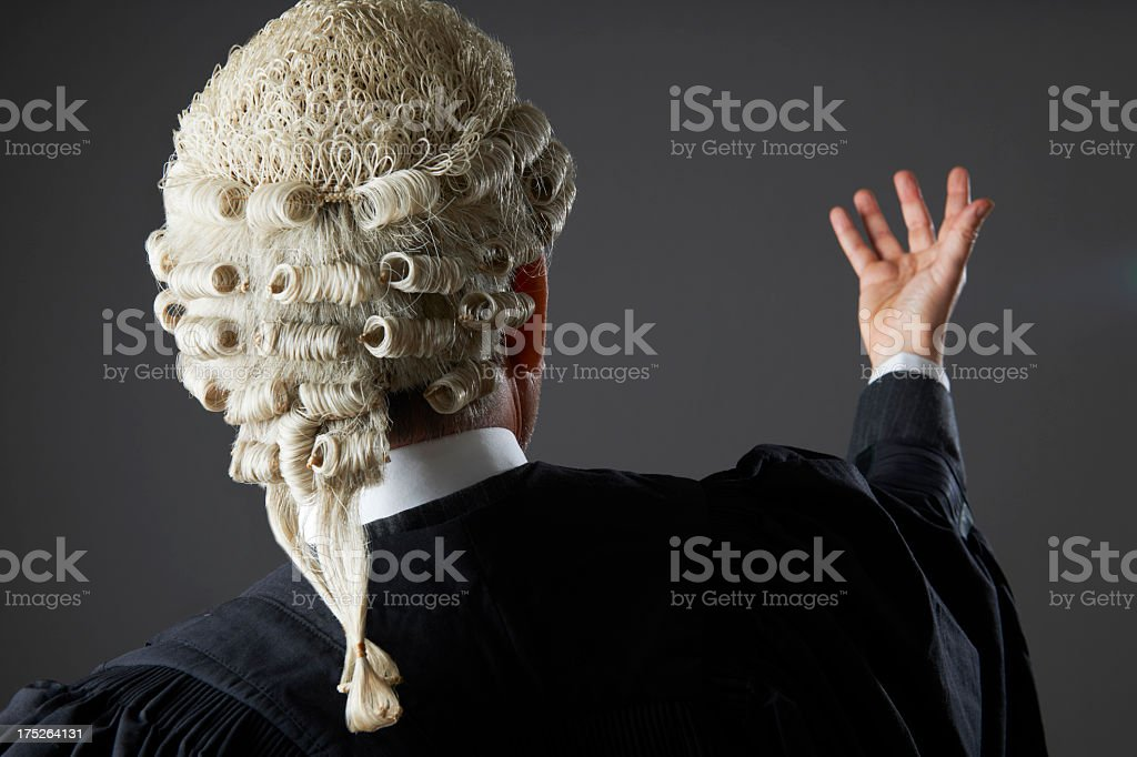 Barrister making a speech in court stock photo