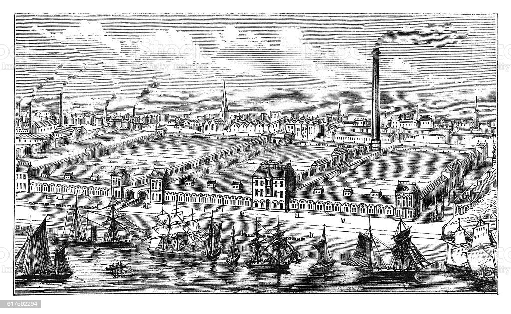 Barrow flax and jute mills (antique engraving) stock photo