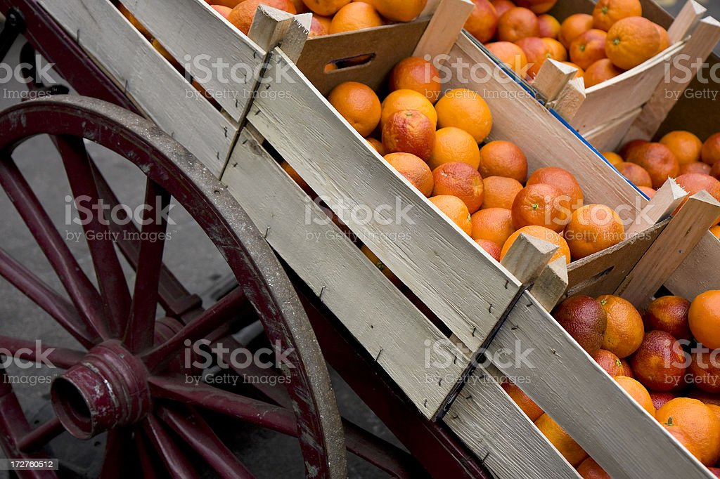 Barrow of oranges stock photo