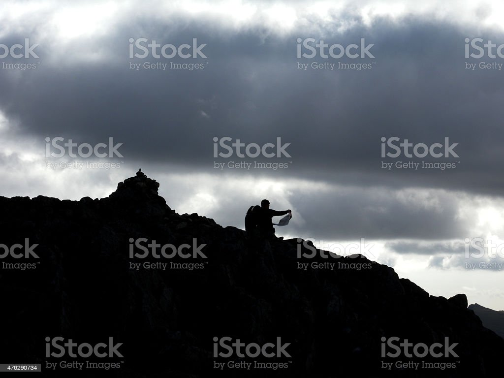 Barry Map Reading on Crinkle Crags stock photo