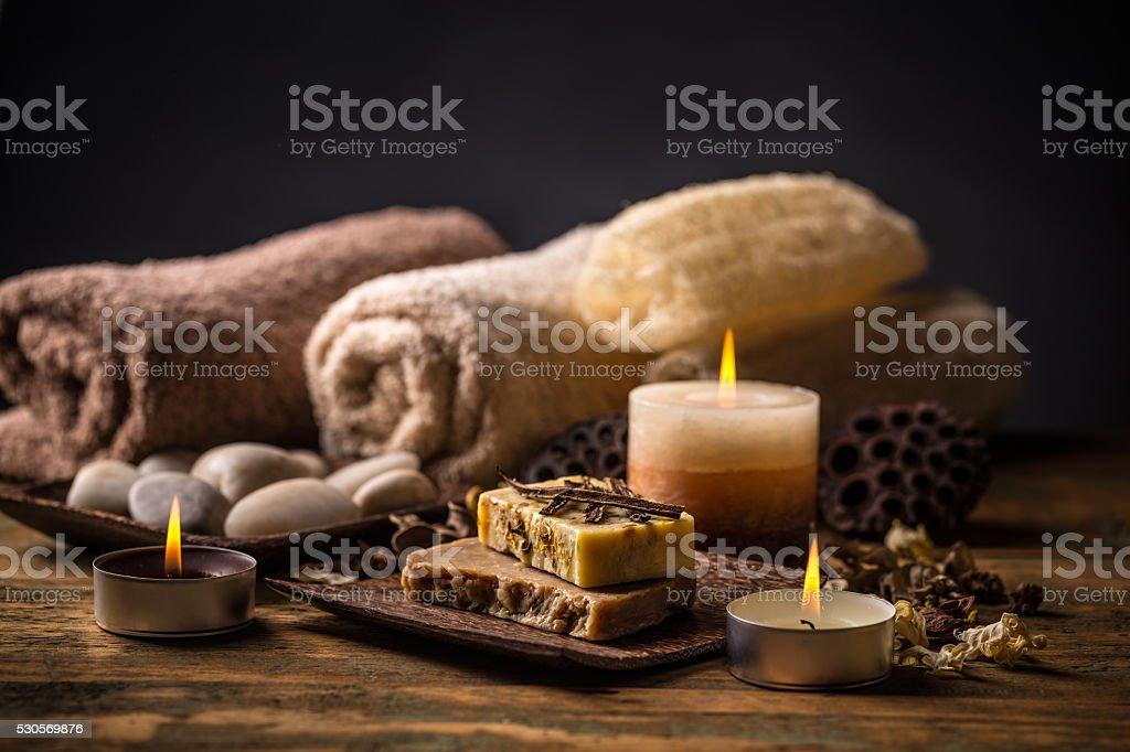 Bars of natural soap stock photo