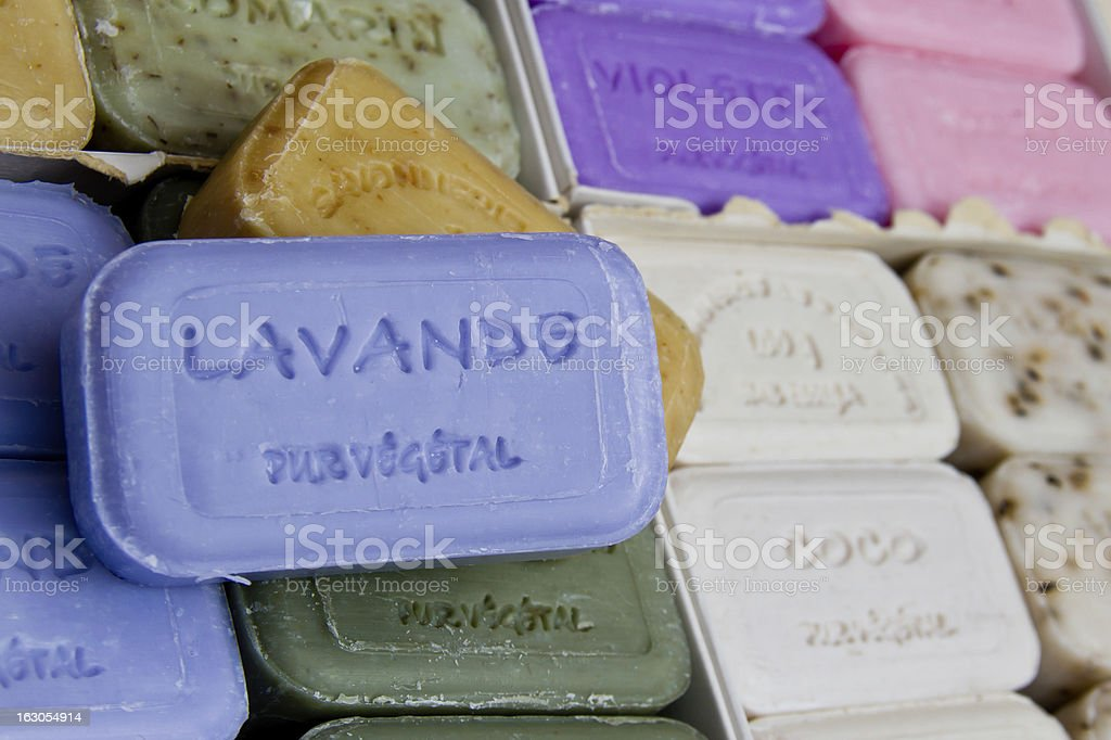 Bars of soap for sale at outdoor market Nice, France royalty-free stock photo