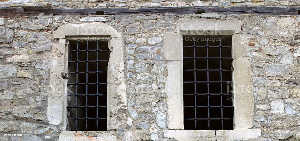 Bars on the windows. stock photo