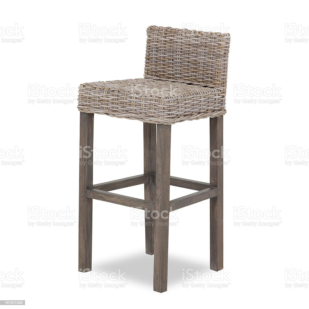 Barstool In Wood and Wicker royalty-free stock photo