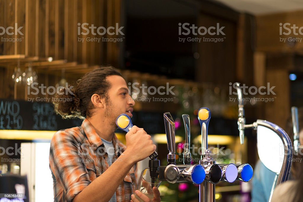 Bartender at work stock photo