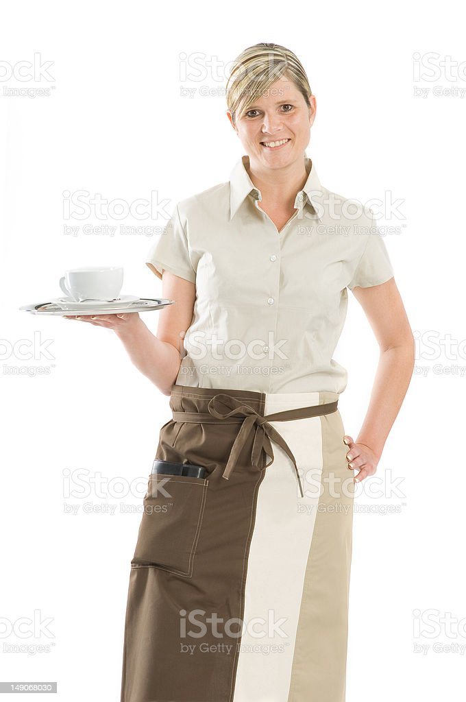 Bartender girl with a cup of coffee royalty-free stock photo