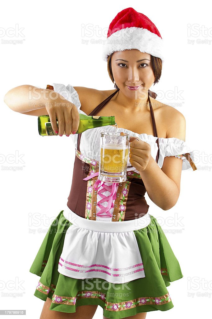 Bartender in a Christmas Santas Little Helper Costume with Beer royalty-free stock photo
