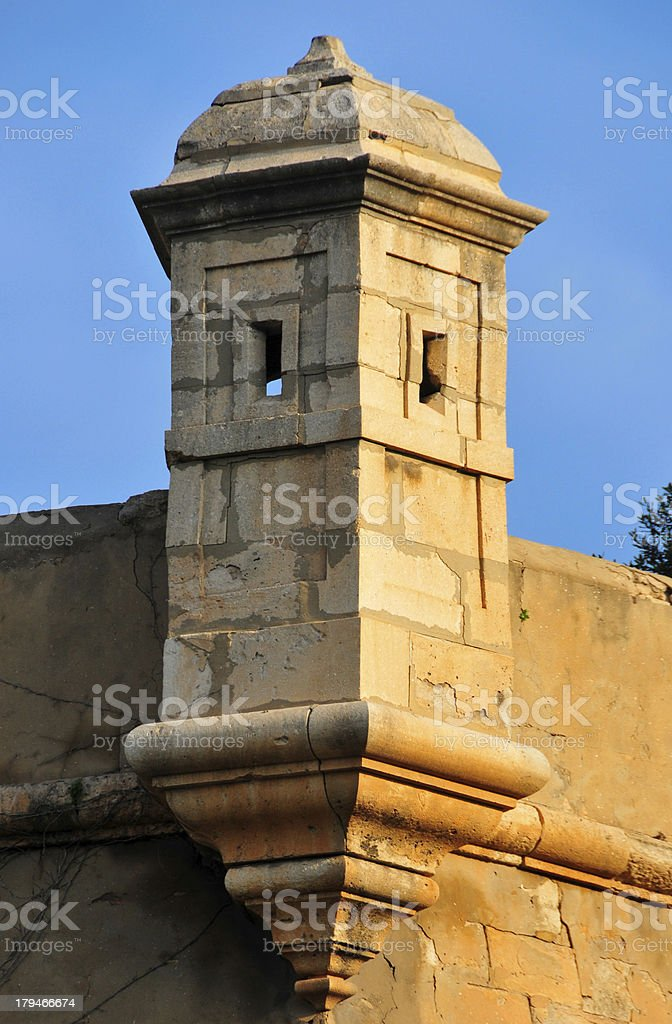 Bartizan on the corner of a fortress stock photo