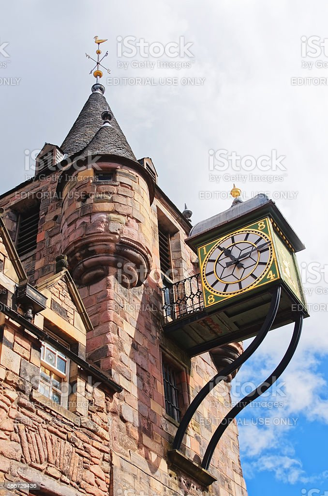 Bartizans and Clock of Canongate tolbooth in the Royal Mile stock photo