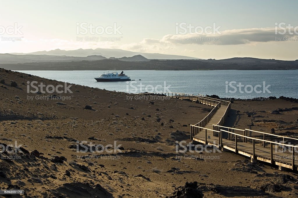 Bartolome island with cruise ship, Galapagos Islands stock photo