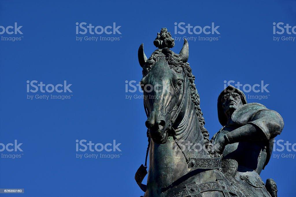 Bartolomeo Colleoni statue stock photo