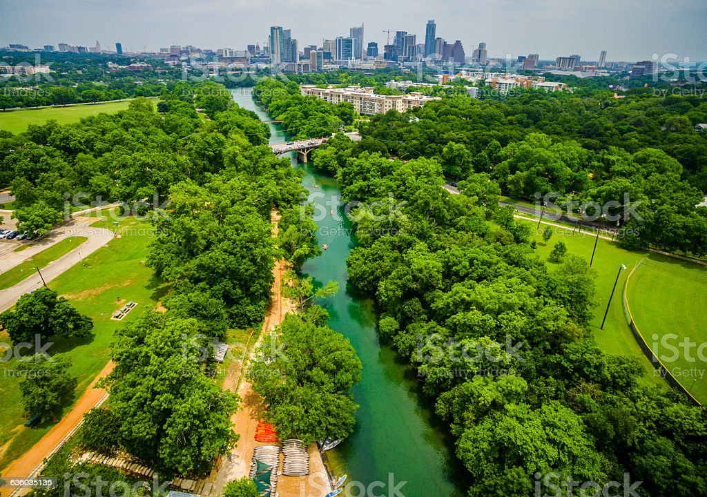 Barton Springs Feeds into Austin Texas stock photo