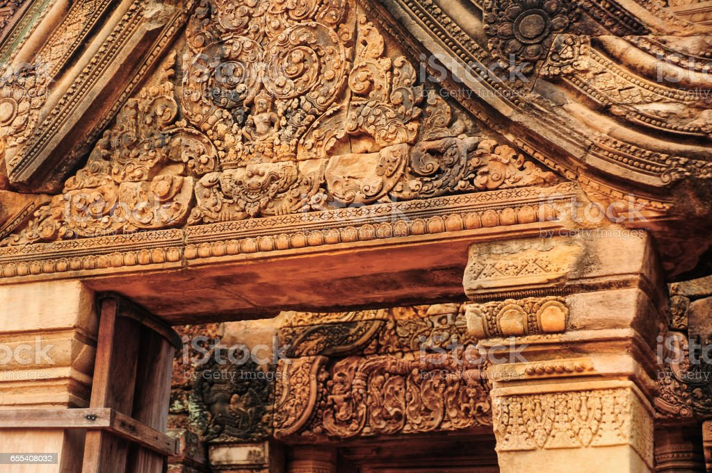 Bas relief at Banteay Srei temple stock photo