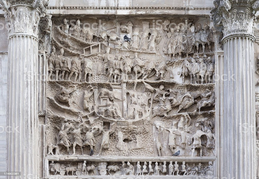 Bas relief from The Arch of Septimius Severus, Rome Italy royalty-free stock photo
