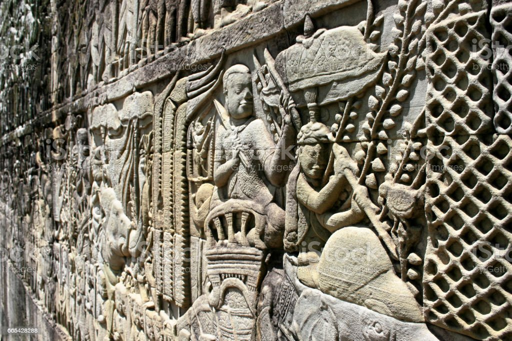 Bas relief in Angkor Thom stock photo