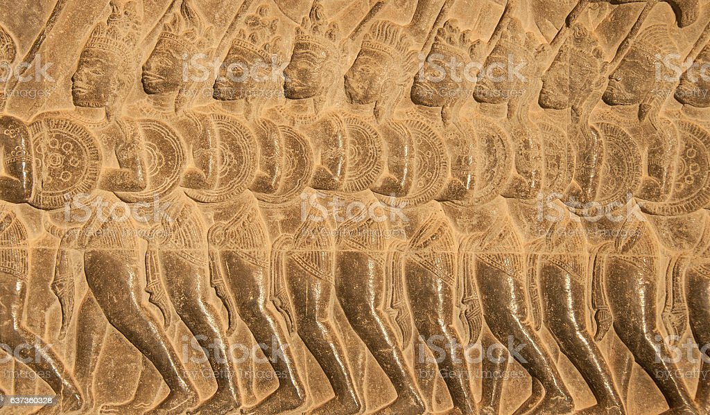 Bas Relief in Angkor Wat Temple. stock photo