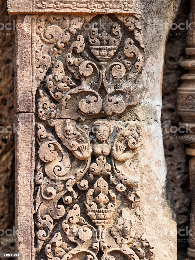Bas relief in Banteay Srei, Cambodia. stock photo