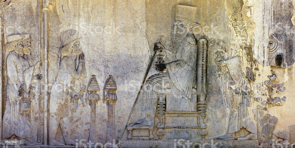 Bas relief in Persepolis stock photo