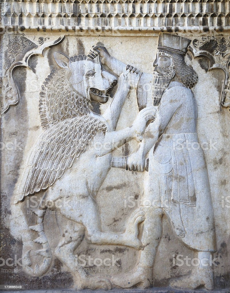 Bas Relief on Outer Wall of Narenjestan Palace, Shiraz, Iran stock photo