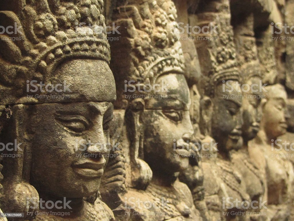 bas reliefs in one of Angkor temples stock photo