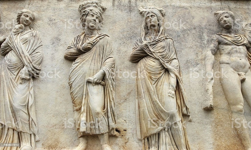 Bas Reliefs of a Sarcophagus in Aphrodisias, Turkey stock photo