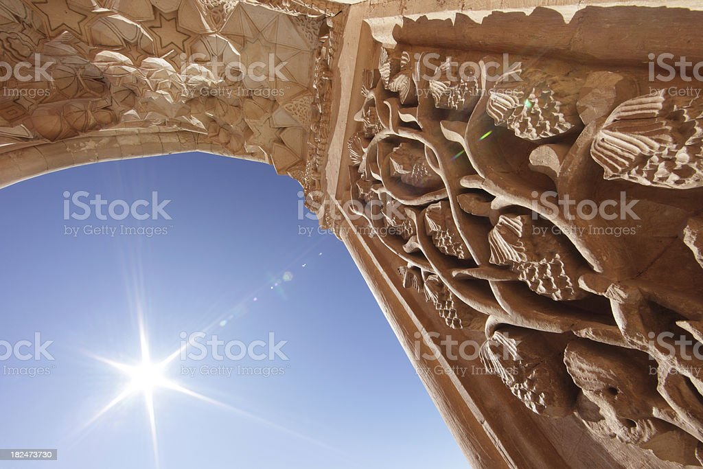 Bas Reliefs of Ishak Pasha Palace, Dogubeyazit, Agri, Turkey stock photo
