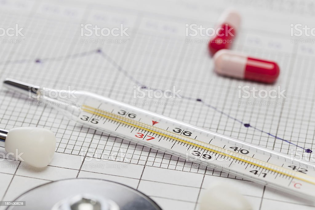 Basal body temperature chart with thermometer, stethoscope and pills stock photo