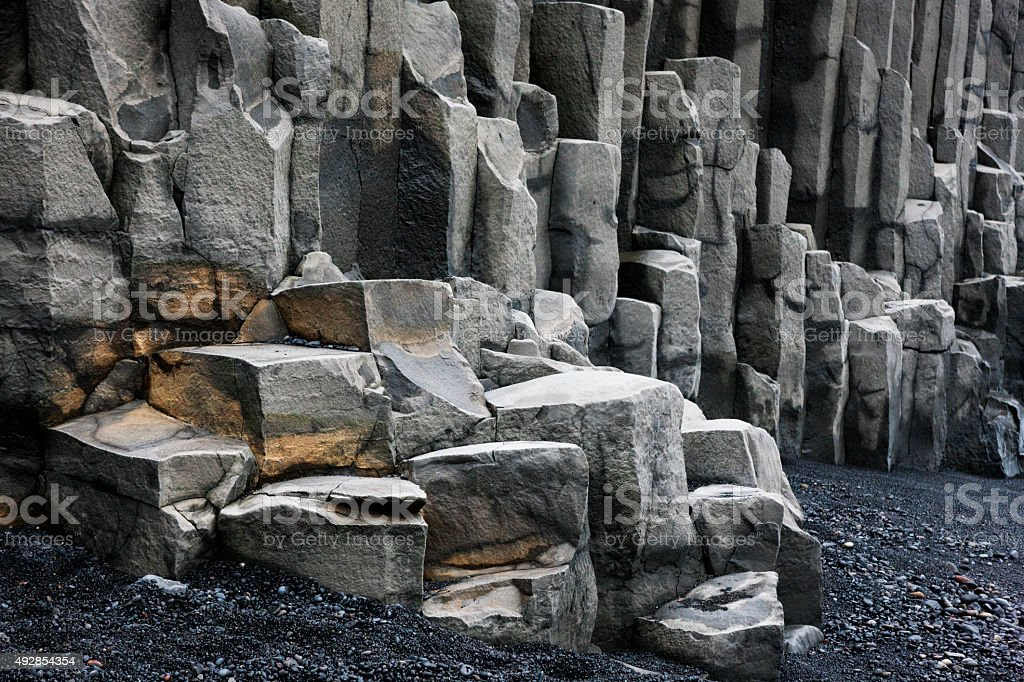 Basalt Cliffs at Reynisdrangar Beach, Iceland stock photo