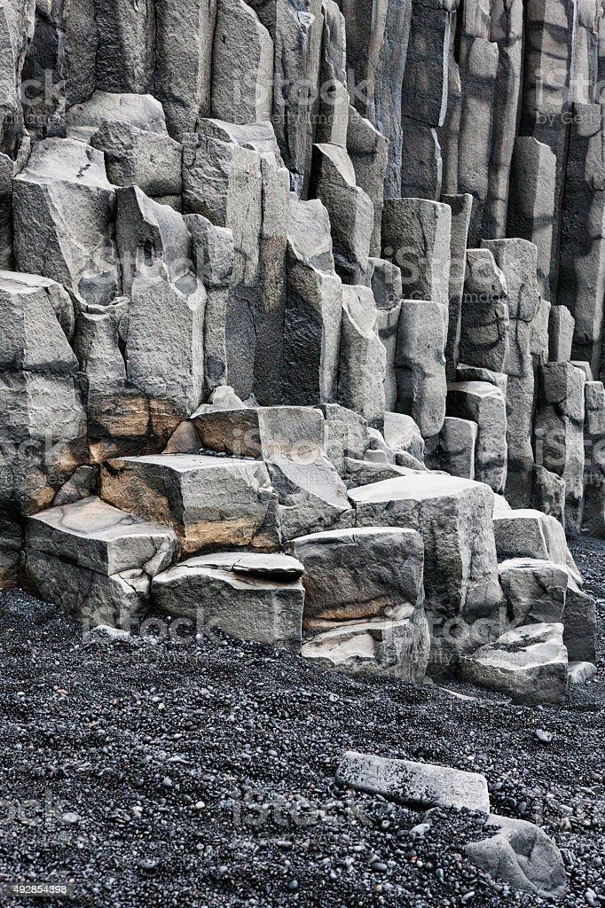 Basalt Cliffs at Reynisdrangar Beach, Iceland stock photo