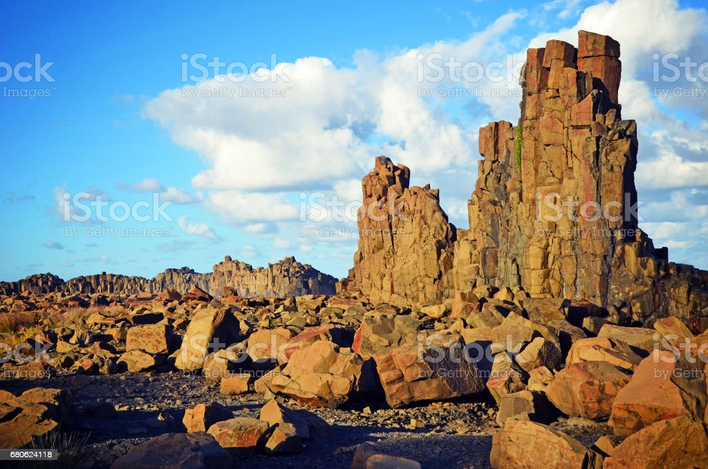 Basalt columns at Bombo Headland quarry stock photo