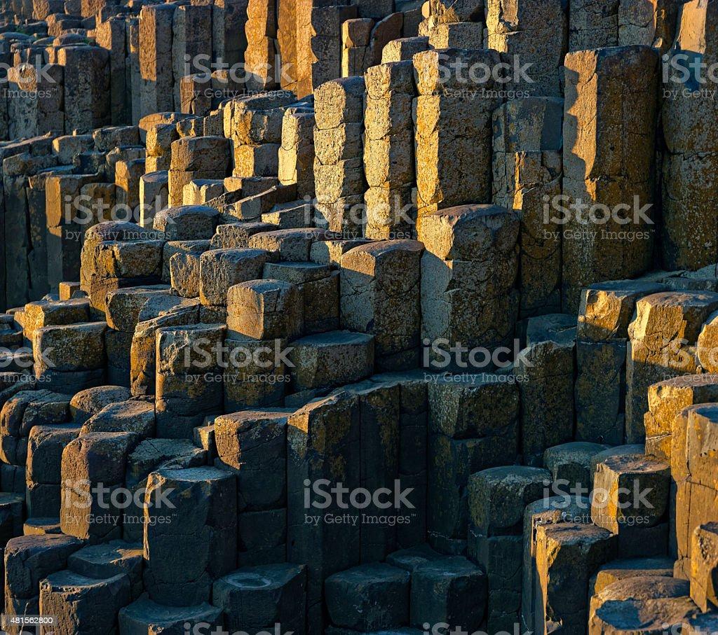 Basalt columns at Giants Causeway in Northern Ireland stock photo