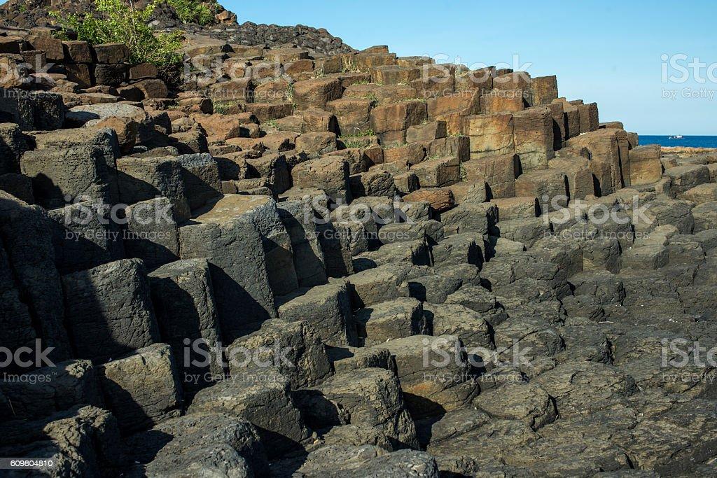 basalt columns in Phu yen, Vietnam stock photo