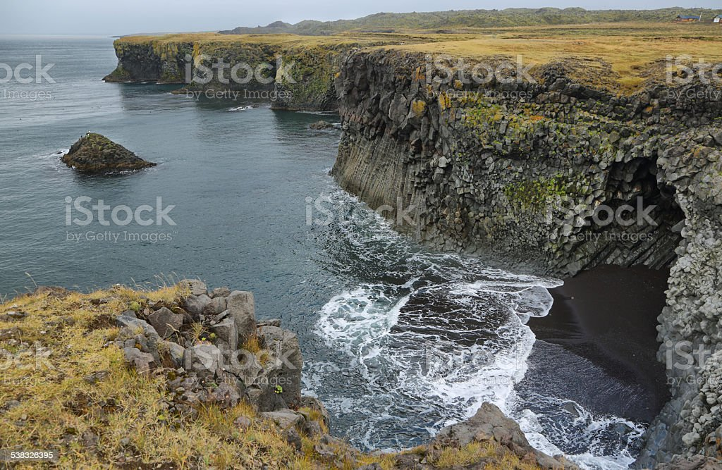 Basalt formations at Arnarstapi stock photo