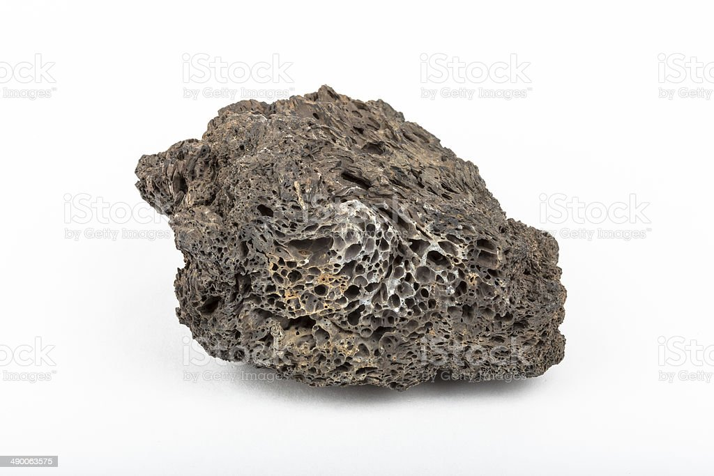 Basalt lava rock from volcano in Iceland with gas bubbles stock photo
